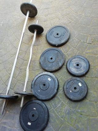 Juego de pesas y barras