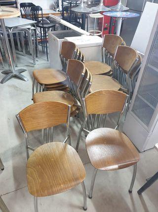 19 sillas madera y acero