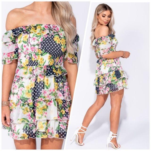 Floral Polka Dot Mini Dress