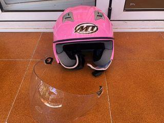 Casco de moto rosa abierto