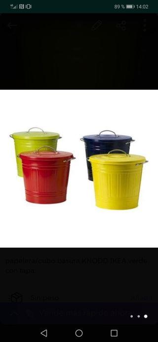 papelera/cubo basura KNODD IKEA verde con tapa