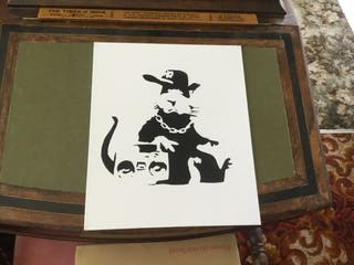 Banksy style art boarded canvas 12 in 10in