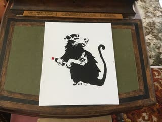 Banksy style art boarded canvas 12in 10in