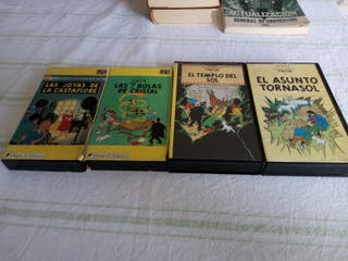 4 PELICULAS EN VHS LAS AVENTURAS DE TINTIN