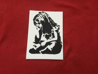 Spray art banksy style art boarded canvas 7in 5in