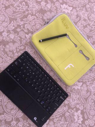 Funda tablet, teclado inalámbrico y boli tactil