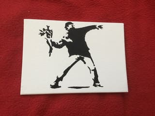 Spray art banksy style boarded canvas 7in 9in