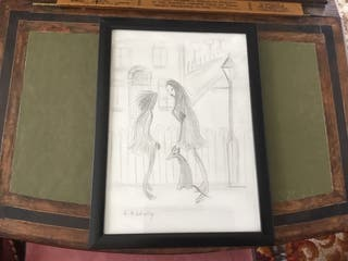 Pencil drawing with L S Lowry signature