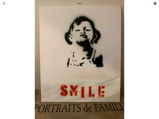 Spray art boarded canvas smile 12in 10in