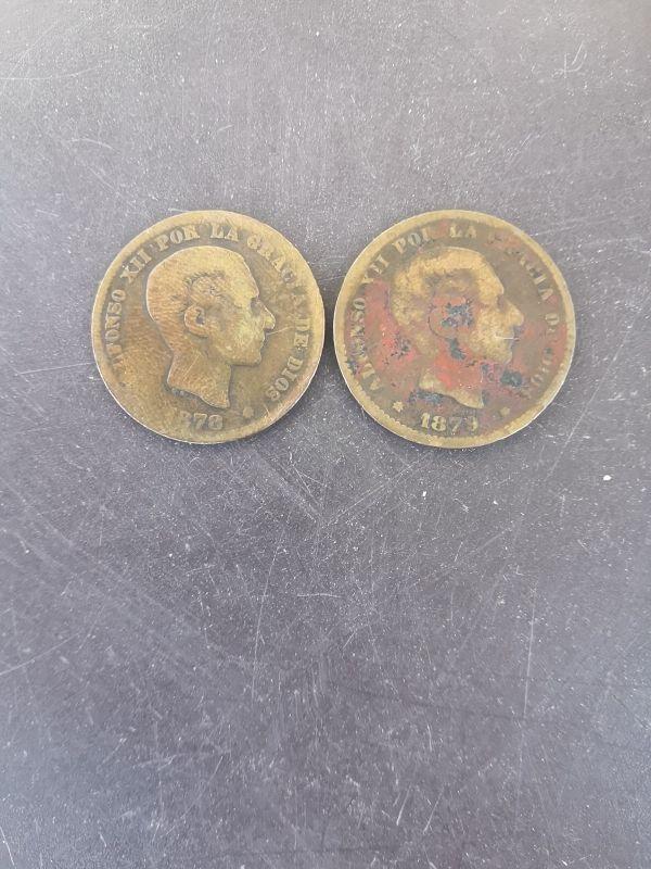 monedas 5 céntimos 1878 y 1879