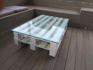 Mesa de palet de 120x80 con ruedas y cristal
