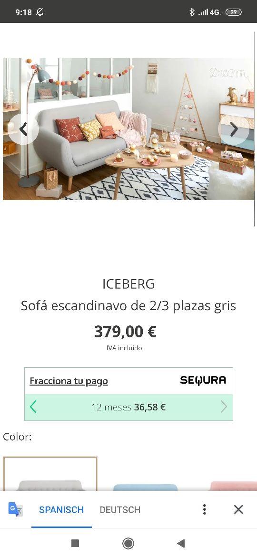 sofá escandinavo Iceberg