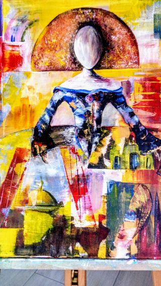 Cuadro abstracto moderno.Menina urbana.