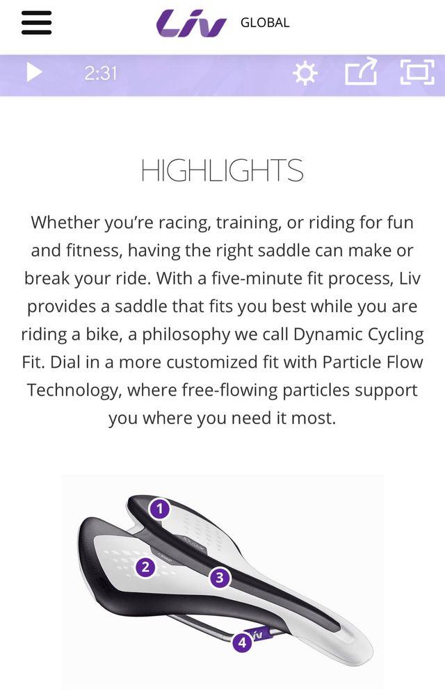 Sillín bici mujer Liv