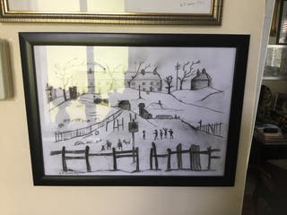 L S Lowry Pencil and charcoal sketch 13in 10in