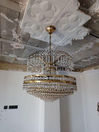 lámpara de cristal antigua