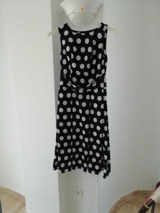 Vestido, talla 36-38 negro, blanco Lunares