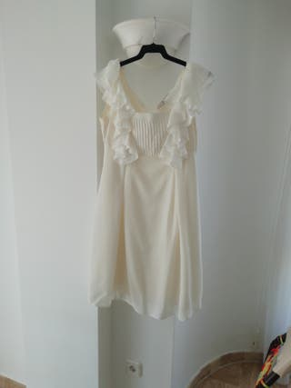 Vestido blanco, con Volantes, talla 36-38
