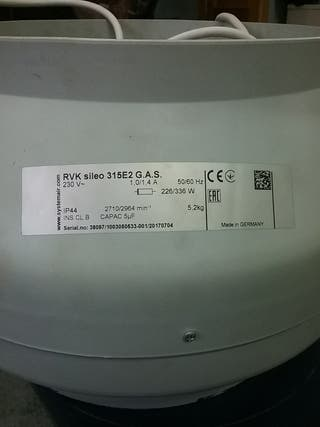 Extractor RVK Sileo 315E2 G.A.S. 230V