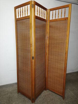 Biombo separador de ambiente madera y caña
