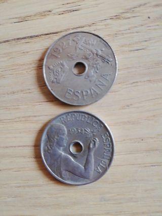 2 monedas de 25 centimos 1927 y 1934
