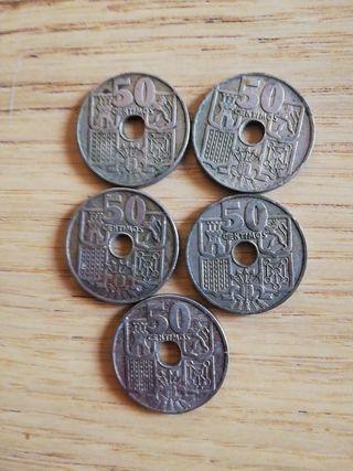 5 monedas 50 centimos 1949