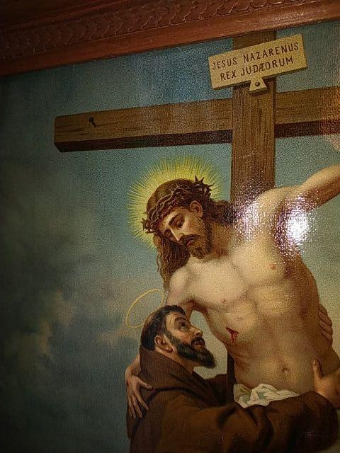 maravilloso cuadro con lamina religiosa años 30