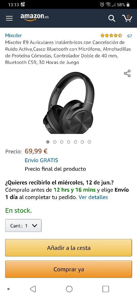 Auriculares Mixcder E9 Bluetooth cancelacion ruido