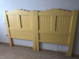 2cabeceros madera color amarillo