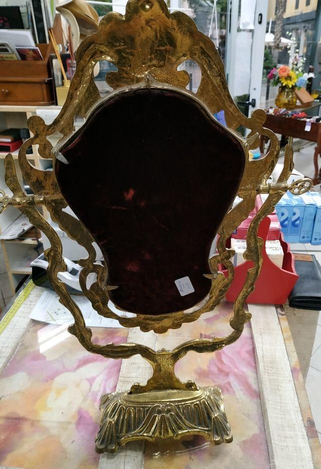 Espejo antiguo de bronce estilo barroco / rococó