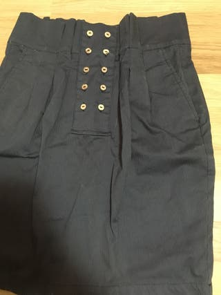 Falda alta pull talla s azul detalle botones marro