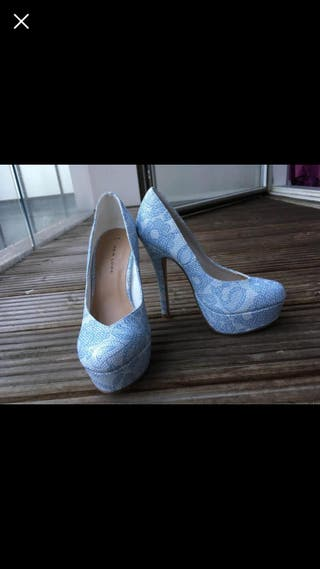 Blue and White heeled shoes