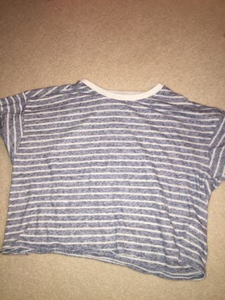 Light blue and white striped top