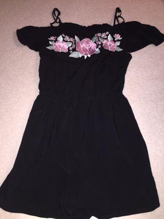 Black floral play suit