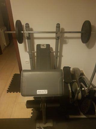 Máquina multifunción gimnasio + barra + 40Kg