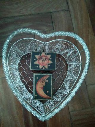 Lote cesta corazón + cajitas sol y luna