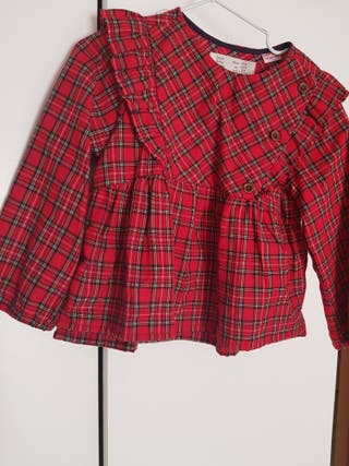 blusa ZARA KIDS tartán roja, ideal. impecable