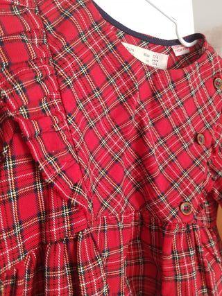 blusa ZARA KIDS tartán roja, ideal. impecable