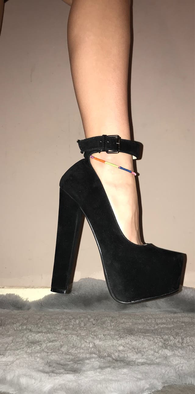 Sexy Black high heels with ankle strap
