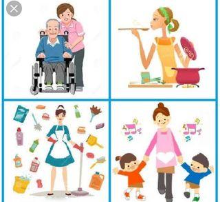 Limpieza cuidadora de mayores y niños