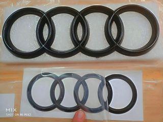 Emblema logotipo logo insignia Audi negro brillo