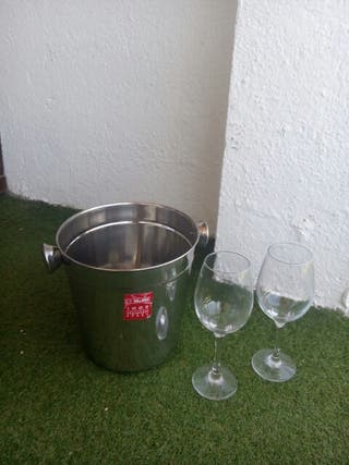 cubo champagne + 2 copas