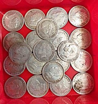 21 monedas plata 50 centimos varios años