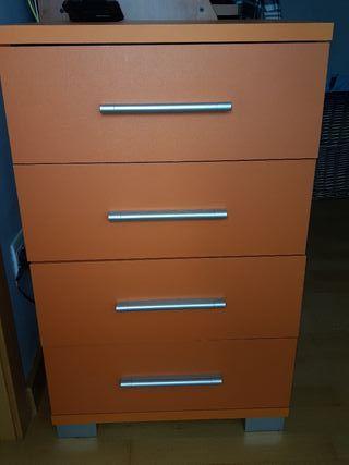 Mueble 4 cajones en color naranja