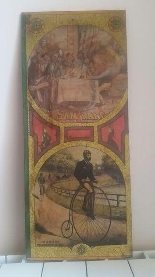 cartel publicitario en chapa con litografía