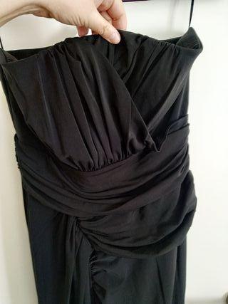 Vestido fiesta negro MANGO palabra de honor