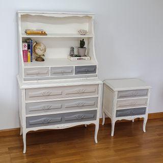 Conjunto escritorio-cómoda con mesilla a juego
