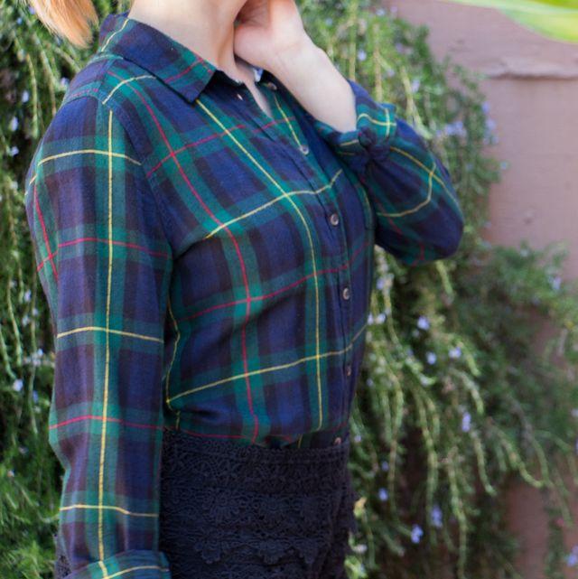 Camisa Springfield mujer cuadros verde oscuro azu