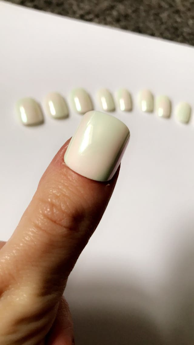 White Metallic short gel hand painted nails