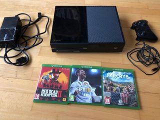 Xbox one con 2 mandos y Rdr2, far cry5, fifa 18